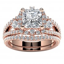 14k Rose Gold Princess Diamond Halo Engagement Set