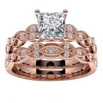 14k Rose Gold Princess Diamond Engagement Set