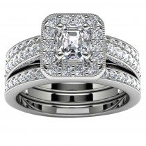 14k White Gold Princess Diamond Halo Engagement Set