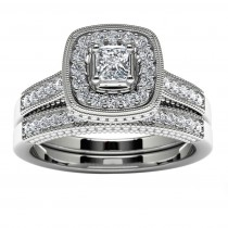 14k White Gold Princess Diamond Halo Engagement Set Top View