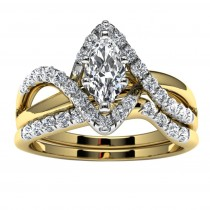 14k Yellow Gold Marquise Diamond Infinity Engagement Set Top View