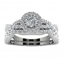 14k White Gold Diamond Infinity Halo Engagement Set