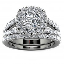 14k White Gold Halo Diamond Engagement Set Top View