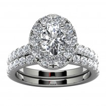 14k White Gold Oval Diamond Halo Diamond Engagement Set