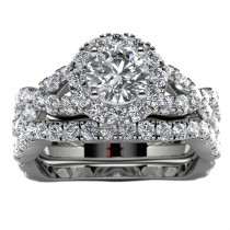 14k White Gold Halo Infinity Diamond Engagement Set Top View
