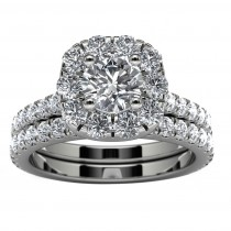 14k White Gold Halo Diamond Engagement Set