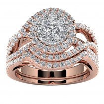 14k Rose Gold Diamond Infinity Halo Engagement Set