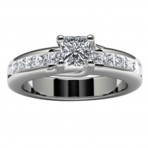 14k White Gold Princess Diamond Wedding Ring Top View