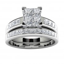 14k White Gold Princess Diamond Engagement Set Top View