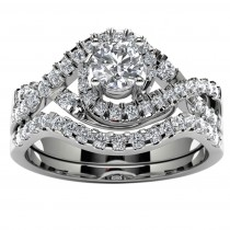 14k White Gold Diamond Infinity Engagement Set Top View