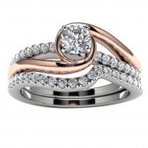 10k Two Tone Diamond Engagement Set Top View