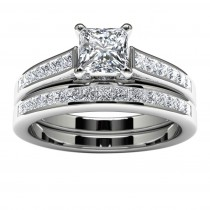 14k White Gold Princess Diamond Engagement Ring Top View