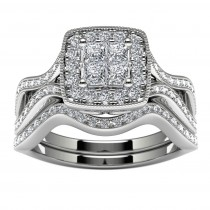 10k White Gold Princess Diamond Halo Wedding Ring Set Top View