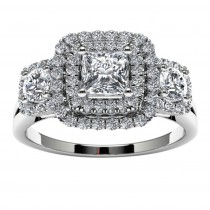 14k White Gold Three Stone Princess Halo Diamond Engagement Ring Top View