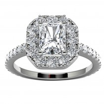 14k White Gold Radiant Diamond Halo Engagement Ring Top View