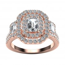 14k Rose Gold Diamond Halo Engagement Ring