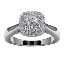10k White Gold Princess Diamond Halo Engagement Ring Top View