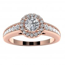 14k Rose Gold Diamond Halo Engagement Ring Top View