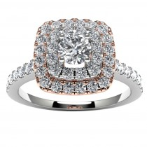 14k Two Tone Round Diamond Halo Engagement Ring Top View