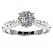 14k White Gold Diamond Halo Engagement Ring Top View