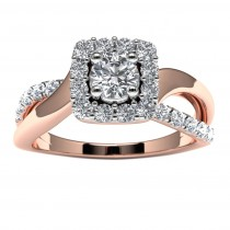 14k Rose Gold Diamond Engagement Ring Top View