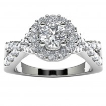 14k White Gold Infinity Halo Diamond Engagement Ring Top View