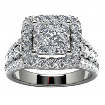 14k White Gold Halo Diamond Wedding Ring Top View