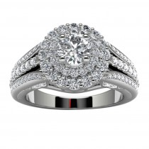 14k White Gold Halo Diamond Engagement Ring Top View
