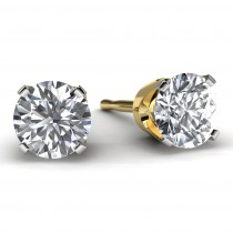 1.0 TDW Yellow Gold Solitaire Diamond Earrings Front View