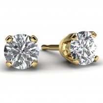 Yellow Gold 1/2 TDW Diamond Solitaire Earrings Front View