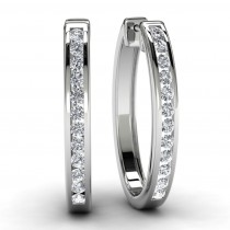 White Gold Round Diamond Hoop Earrings