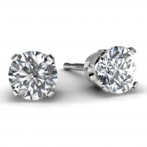 1.0 TDW White Gold Solitaire Diamond Earrings Front View