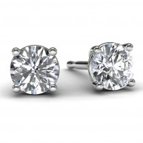 White Gold 1/2 TDW Diamond Solitaire Earrings Front View