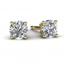 Yellow Gold Round Diamond Earrings Front View