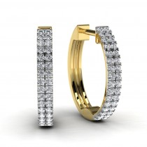 Yellow Gold Round Diamond Hoop Earrings
