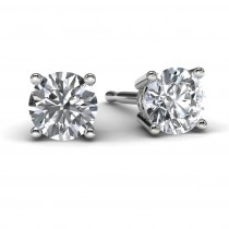 White Gold Round Diamond Earrings