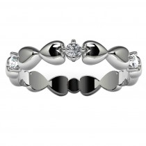 10k White Gold Diamond Heart Ring Top View