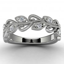 14k White Gold Diamond Leaf Ring Top View