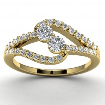 14k Yellow Gold Diamond Engagement Ring Top View