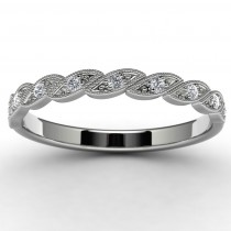10k White Gold Side Stone Wedding Ring Top View