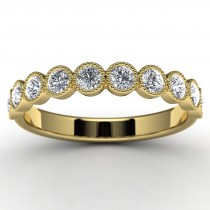 14k Yellow Gold Diamond Wedding Ring Top View