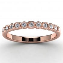 14k Rose Gold Diamond Wedding Ring Top View