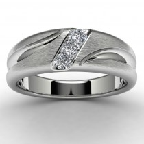 10k White Gold Diamond Wedding Ring Top View