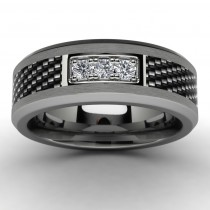 Tungsten Three Diamond Wedding Ring Top View