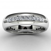 14k White Gold Diamond Wedding Band Top View