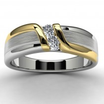 10k Two Tone Diamond Wedding Ring Top View