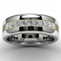 Tungsten Channel Set Wedding Band