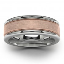 14k Rose Gold Tungsten Wedding Band Top View
