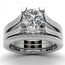 14k White Gold Engagement Ring Set Top View