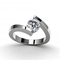 14K White Gold Engagement Ring Top View